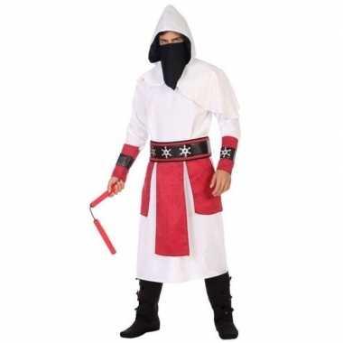 Carnaval/feest ninja verkleedoutfit wit/rood voor herencarnavalskledi