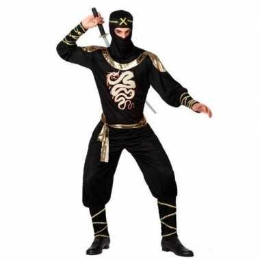 Carnaval/feest ninja verkleedoutfit zwart/goud voor volwassenencarnav