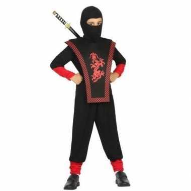 Carnaval/feest ninja verkleedoutfit zwart/rood voor jongenscarnavalsk
