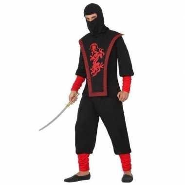 Carnaval/feest ninja verkleedoutfit zwart/rood voor volwassenencarnav
