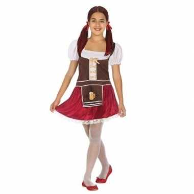 Carnaval/feest oktoberfest verkleedoutfit bruin/rood voor meisjescarn