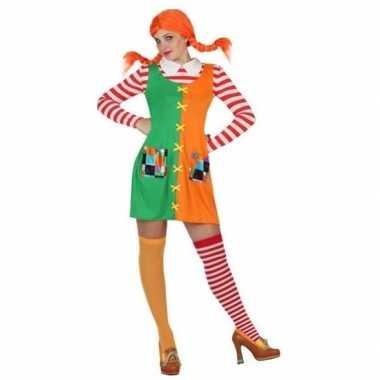 Carnaval/feest pippie verkleedoutfit voor damescarnavalskleding