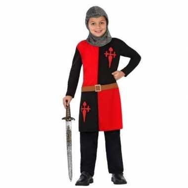 Carnaval/feest ridder lancelot verkleedoutfit rood/zwart voor kindere