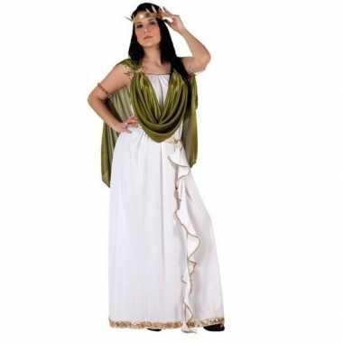 Carnaval/feest romeinse/griekse godin verkleedoutfit livia wit/groen