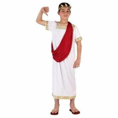 Carnaval/feest romeinse toga verkleedoutfit wit/rood voor jongenscarn