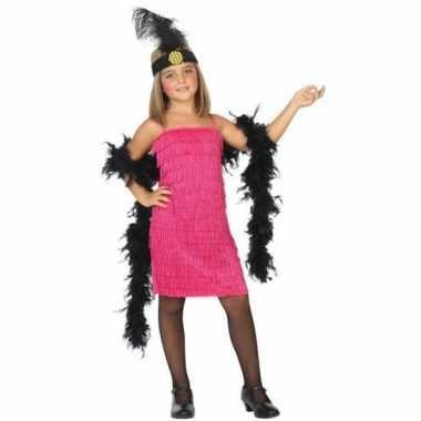 Carnaval/feest roze flapper jurkje voor meisjes 1920s/roaring twentie