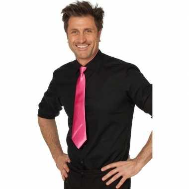 Carnaval feest stropdas fuchsia roze 41 cm voor volwassenen carnavalskleding 10159783