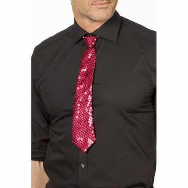 Carnaval/feest stropdas fuchsia roze glitters/glimmers 32 cm voor vol