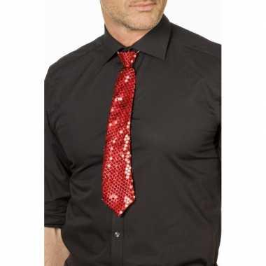 Carnaval/feest stropdas rood glitters/glimmers 32 cm voor volwassenen