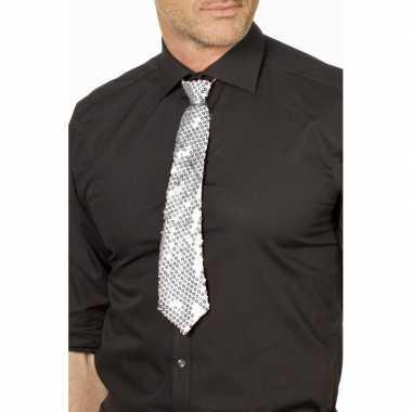 Carnaval/feest stropdas zilver glitters/glimmers 32 cm voor volwassen
