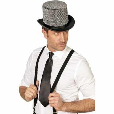 Carnaval/feest stropdas zwart 41 cm voor volwassenencarnavalskleding