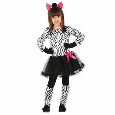 Carnaval/feest zebra verkleed outfit voor meisjescarnavalskleding