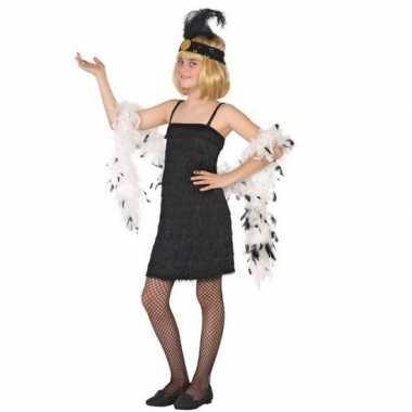 Carnaval/feest zwart flapper jurkje voor meisjes 1920s/roaring twenti