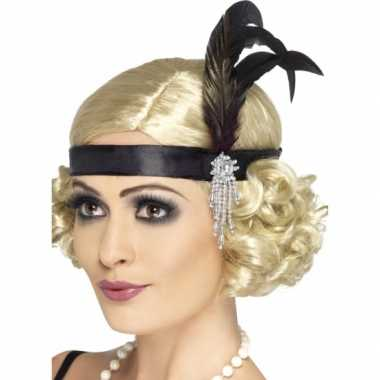 Carnaval feest zwarte verkleed hoofdband in flapper stijl voor dames carnavalskleding