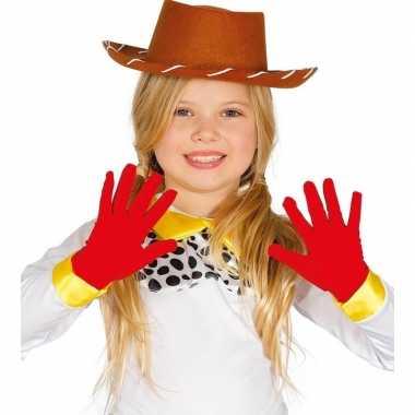 Carnaval handschoenen rood voor kinderen carnavalskleding