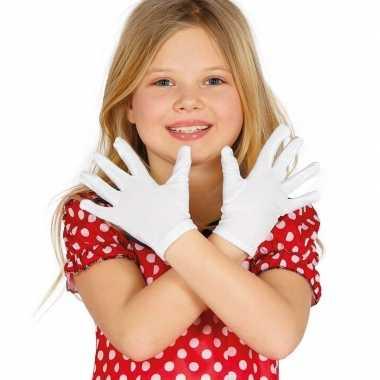 Carnaval handschoenen wit voor kinderen carnavalskleding