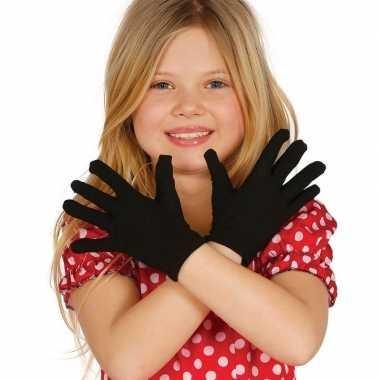 Carnaval handschoenen zwart voor kinderen carnavalskleding