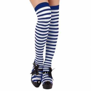 Carnaval kousen gestreept blauw/wit voor damescarnavalskleding