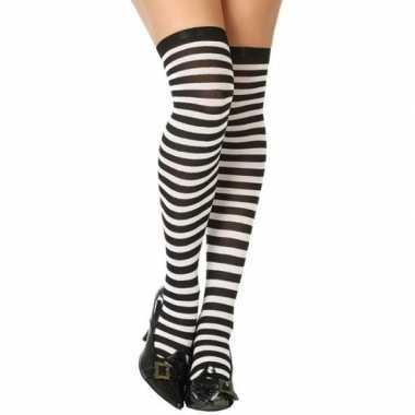 Carnaval kousen gestreept zwart/wit voor damescarnavalskleding
