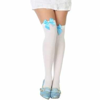 Carnaval kousen wit met lichtblauw strikje voor damescarnavalskleding