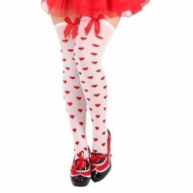 Carnaval kousen wit met rode hartjes en strikje voor damescarnavalskl