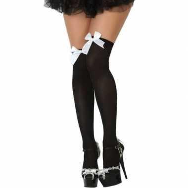 Carnaval kousen zwart met wit strikje voor damescarnavalskleding