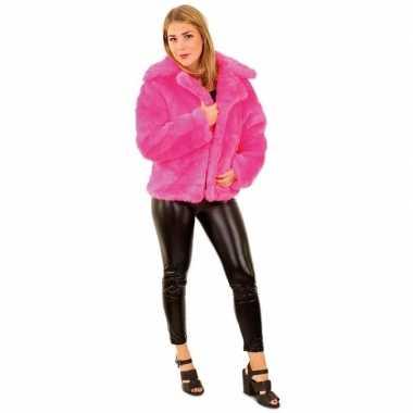 Carnaval nep bontjas neon roze voor damescarnavalskleding