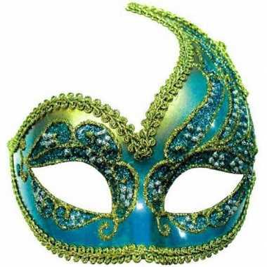 Carnaval oogmasker blauw en goud carnavalskleding