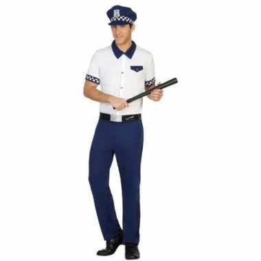 Carnaval politie verkleedkleding blauw/wit voor herencarnavalskleding