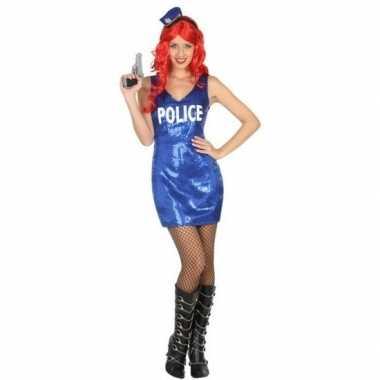 Carnaval politie verkleedkleding glitter jurkje voor damescarnavalskl