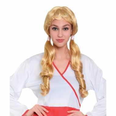 Carnaval pruik blond met staartjes voor damescarnavalskleding