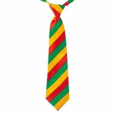 Carnaval stropdas rood/geel/groen gestreept 40 cmcarnavalskleding