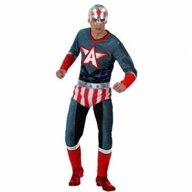 Carnaval superhelden verkleedkleding amerikaaanse kapitein voor heren