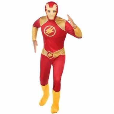 Carnaval superhelden verkleedkleding rood/goud voor herencarnavalskle