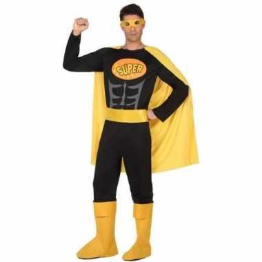 Carnaval superhelden verkleedkleding zwart geel voor heren carnavalskleding