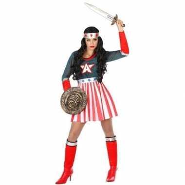 Carnaval superheldin verkleedkleding amerikaaanse kapitein voor dames
