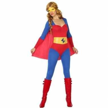 Carnaval superheldin verkleedkleding blauw/rood voor damescarnavalskl