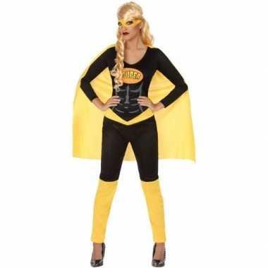 Carnaval superheldin verkleedkleding zwart geel voor dames carnavalskleding