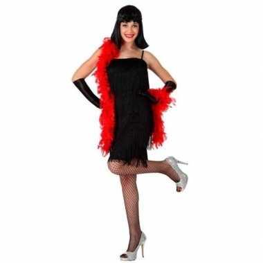 Carnaval verkleedkleding zwart cabaret jurkje voor damescarnavalskled