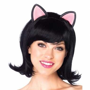 Carnaval zwarte kat poes damespruik met oortjes carnavalskleding