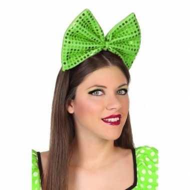 Carnavalaccessoire diadeem groene strikcarnavalskleding