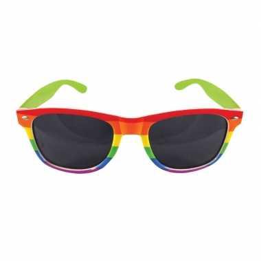 Carnavalaccessoires bril regenboogkleuren carnavalskleding