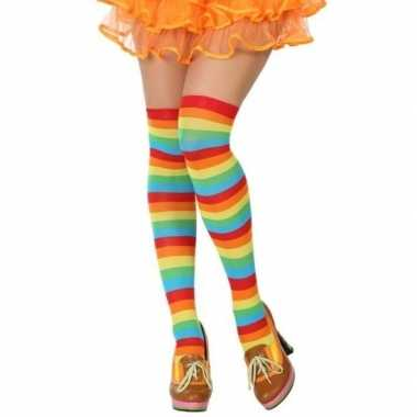 Carnavalaccessoires gestreepte kousen voor damescarnavalskleding