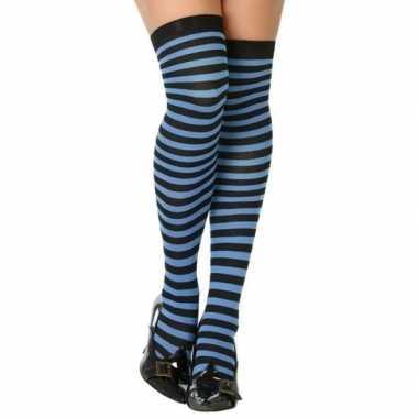 Carnavalaccessoires gestreepte kousen zwart/blauw voor damescarnavals