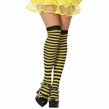 Carnavalaccessoires gestreepte kousen zwart/geel voor damescarnavalsk