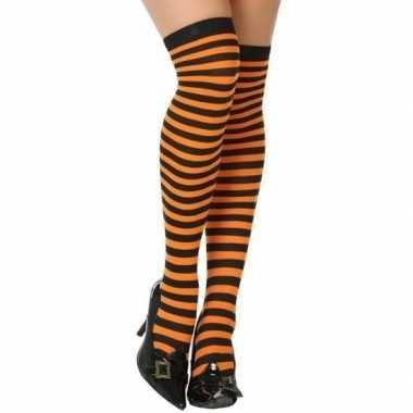 Carnavalaccessoires gestreepte kousen zwart/oranje voor damescarnaval