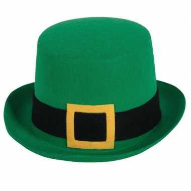 Carnavalaccessoires groene hoge hoed 59 cm carnavalskleding