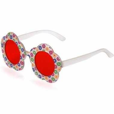 Carnavalaccessoires hippie bril rood voor volwassenencarnavalskleding