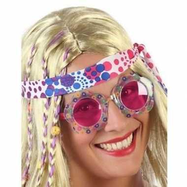 Carnavalaccessoires hippie bril roze voor volwassenen carnavalskleding