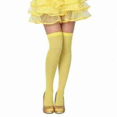 Carnavalaccessoires kousen neon geel voor damescarnavalskleding